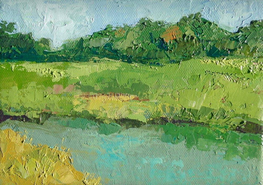 """Salt Marsh II,"" acrylic on canvas, 5""x7,"" (private collection) 2018"