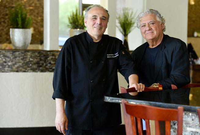 Executive Chef Marco Monnanni (CQ) and Co-Owner Arthur L. Annecharico (CQ) pose for a portrait at Caprese Trattoria Italian Cuisine in Longmont. (Matthew Jonas / Daily Camera Staff Photographer)