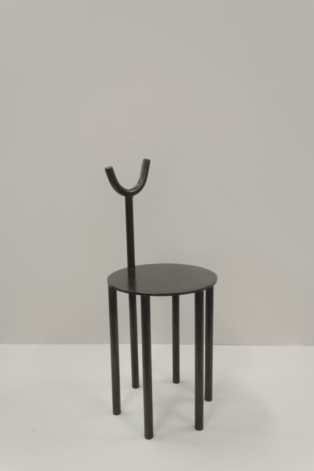 walac. studio collectible sculptural chair in blackened steel