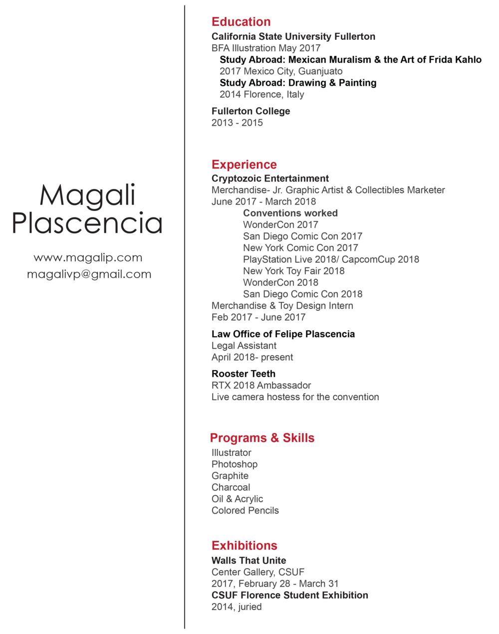 Resume — Art of Magali Plascencia