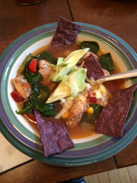 The finished product last week: Chicken tortilla soup a la Hilda!