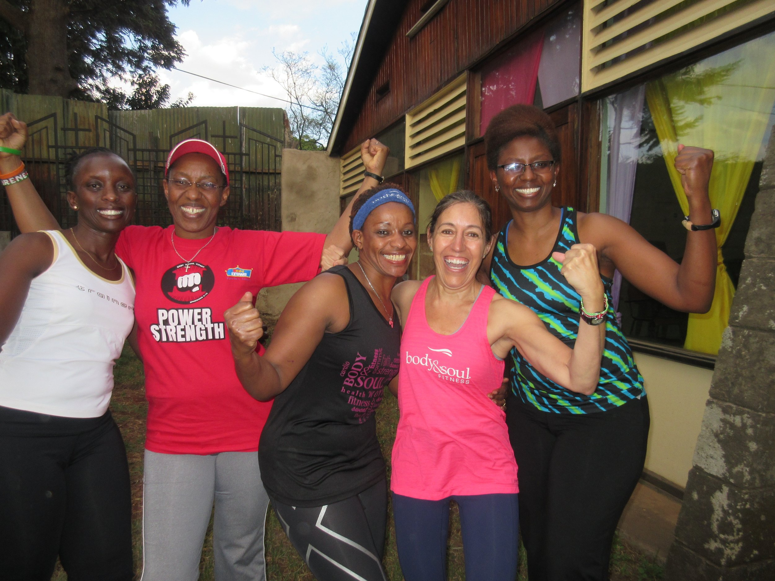 Working out with B&S friends in Kenya!