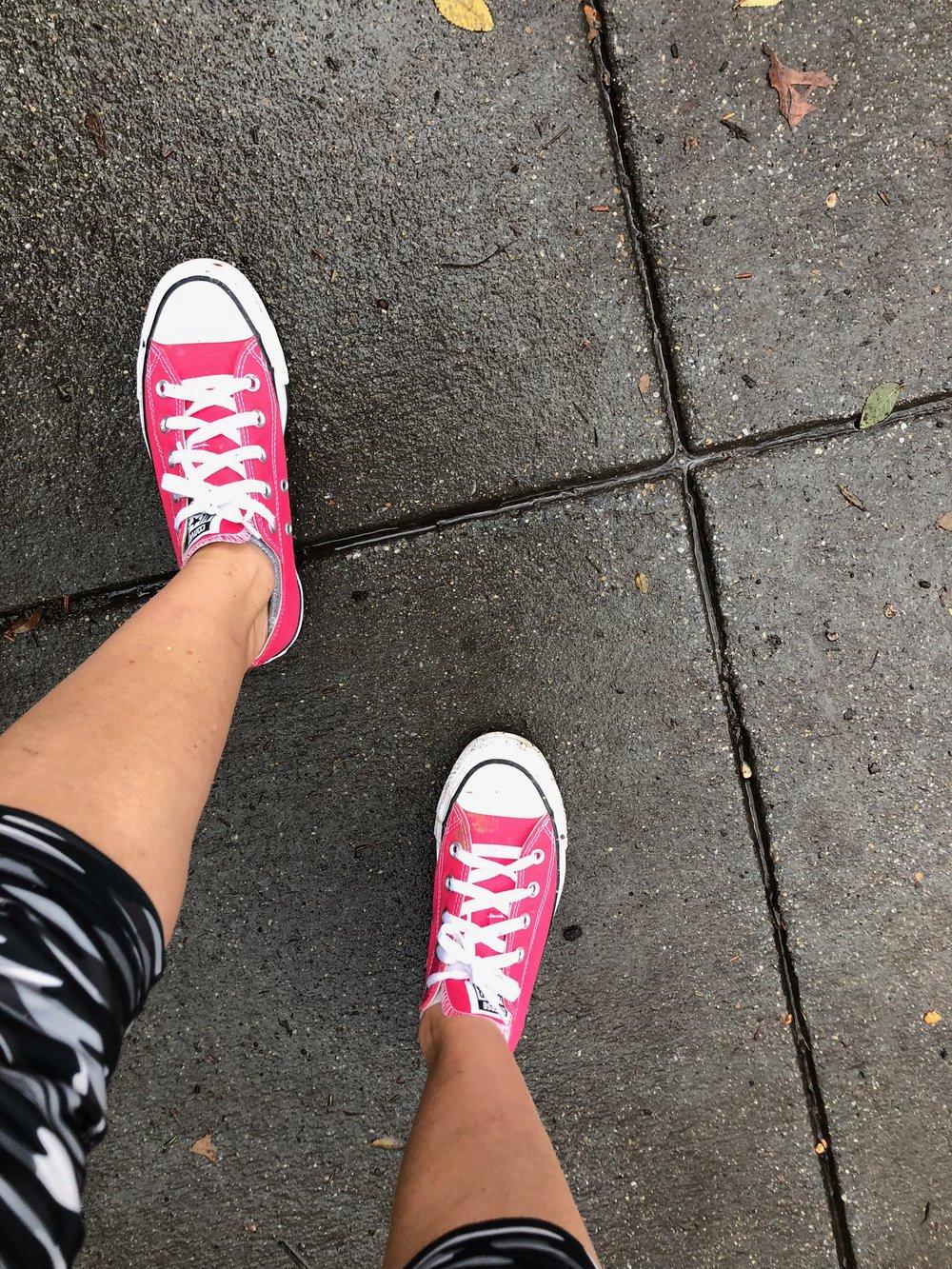 Hot pink Converse make cold adaptation more fun!