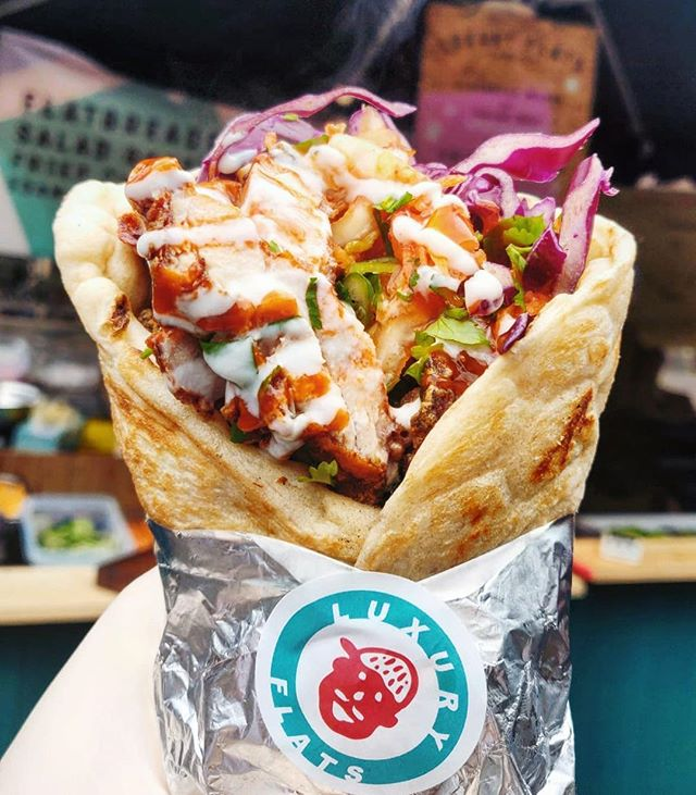 @boroughmarket all week  #koji #friedchicken wrap available all day err day & We've started putting a Sichuan pepper hummus with our vegetarian edamame falafel wrap. it's dead tingly and goes down a peach 😙👌