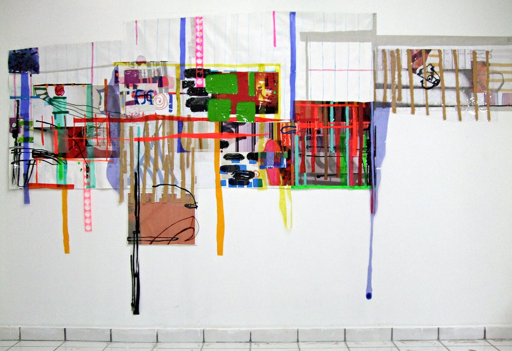 Description w/o Place #7 , Assemblage (Canvas, vinyl,plastic, paper, drawing on wall), 9' x 12' x 3'