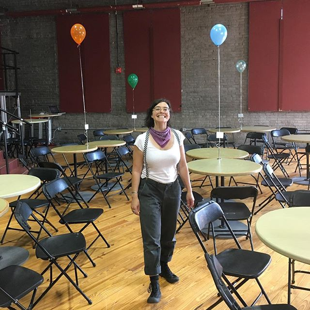 The spectacular @strazzinas in the quiet moments before last night's Artist Town Hall. Thank you to all the local creatives who came out, withstood the heat, and shared your visions for your practice and the community.  An equally huge thanks to everyone who helped make this event happen: @massmoca @wearecommonfolk @mclabcrc @gallery_51 @northadamsmakersmill #ashlandstreetprojectspace #northadamsma