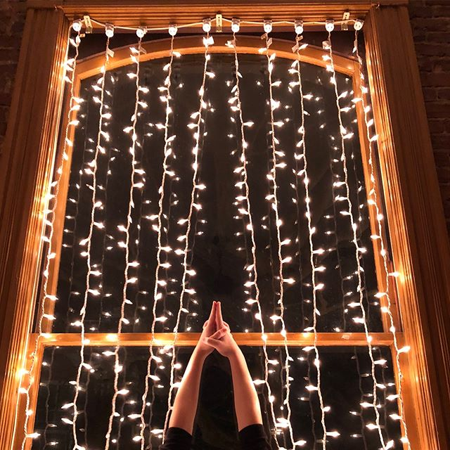 The lights are up and the studio is radiating warmth from the inside out ✨  @hellotoallthefishes is offering a special class Thanksgiving morning from 8:30-10AM by donation. Let's come together and begin this holiday season with intention. #yogaissogoodforyou