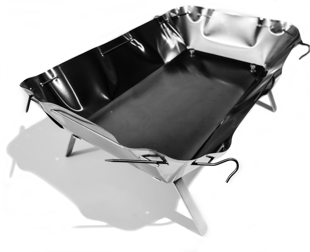 ULW Firepan - Lean at 1.88lbs. Mean, it packs heat.Titanium foil pan, Titanium pins and stiffeners, Aluminum Legs and Spars. Final price is TBD do to changes required to gain approval by GCNP NPS, but it will be ~175$. 310 square inch area & 4
