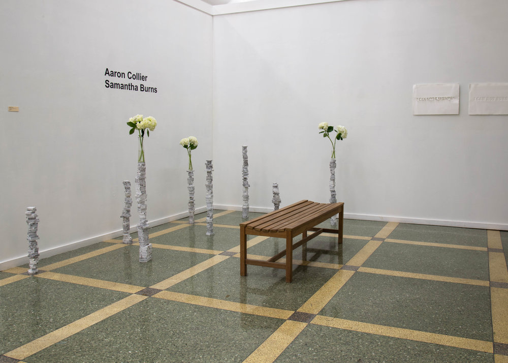 Exhibition in the Contemporary Art Galley at Southeastern Louisiana University.  Materials: wood, tar, gesso, vases, local flowers,