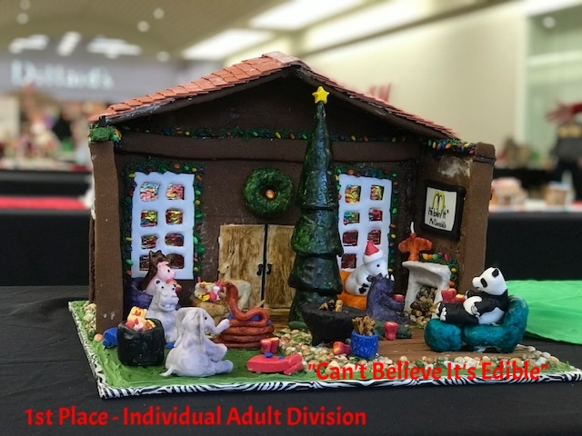 """The Holidays at """"Animal House"""" - Individual Adult Division     Created by: Evelyn Tanner"""