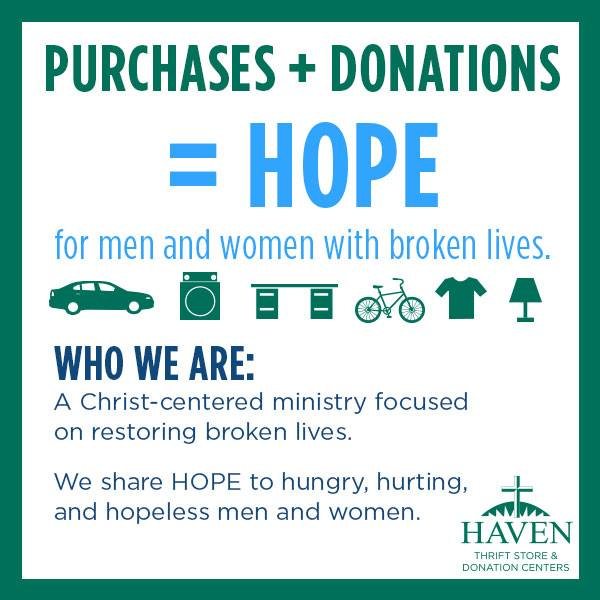 donate to Haven of Rest Thrift stores