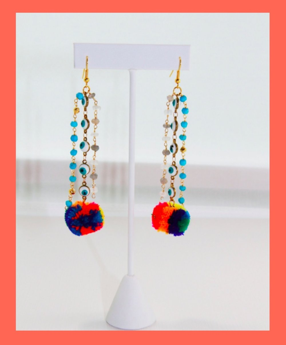 IXTAPA EARRINGS - I'm currently loving COLORES by WedToWhite collection Ixtapa Earrings(but basically every single piece). I am a huge fan of the evil eye and this fun colorful earring is perfect for summer!