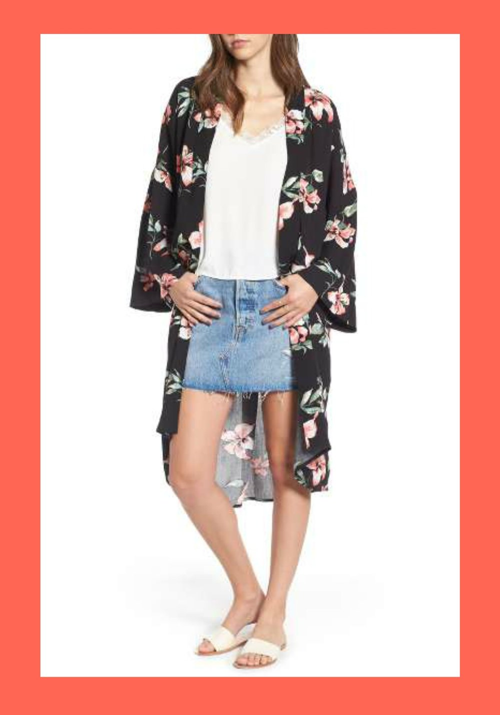 Mimi Chica Floral Print Kimono - I'm loving this kimono from Nordstrom because it comes in three great colors, is the perfect length, and is under $50.