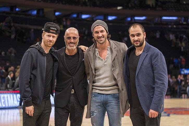 At a  Knicks  game. From left: Alex Samusevich, Sasha Chmerkovskiy, Maks Chmerkovskiy, & Eugene Livshits. Photo credit: Alex Samusevich