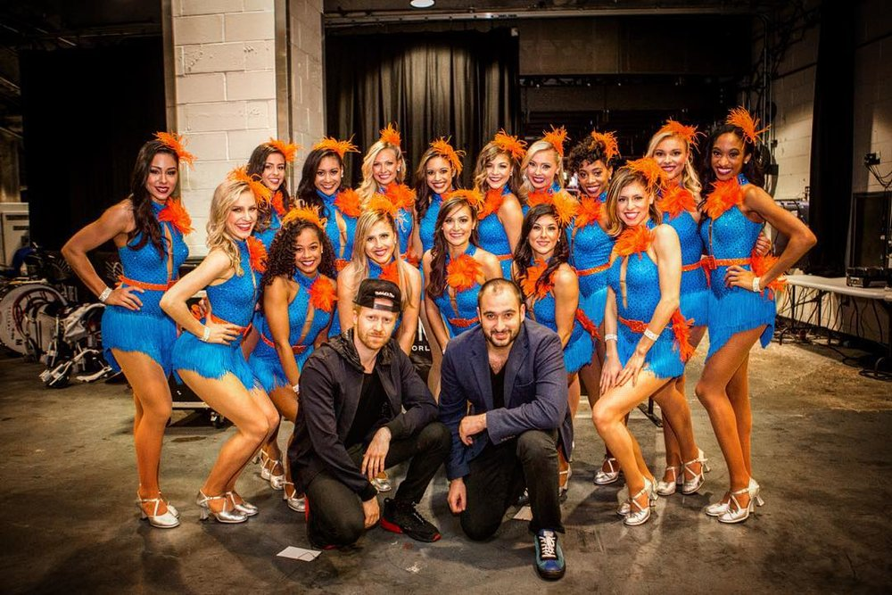 At a  Knicks  game with the team's dancers. Photo credit: Alex Samusevich