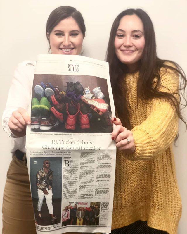 When we shoot, we score! And with this one we scored big-time. A full page @houstonchron article by @joysewing on our @houstonrockets @giuseppezanotti #sneakerhead event @rodistrict?! Thank u, next.