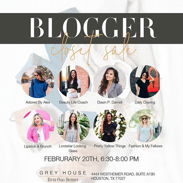 When shopping is actually part of the job 💁Come snag some gently-worn wardrobe staples from your favorite Houston bloggers! Next Wednesday, @greyhouserod! We love working with local influencers to plan events like this for our clients. ✨ Can't wait to see you there!