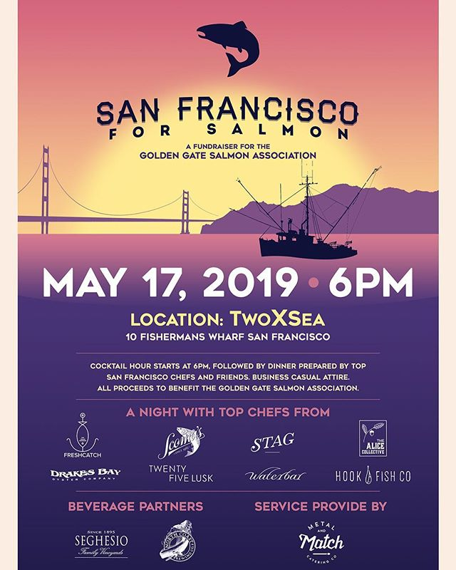 So excited to be a part of the line up for this year's @goldengatesalmon fundraiser event at @2byc . . . . Join us on May 17th to celebrate the beginning of Salmon season and raise some money for our good friends at GGSA!  We'll be serving up sustainable seafood bites along with some of the Bay Area's most loved chefs - you won't want to miss this! Ticket link in bio! . . . Expect delicious dishes from us, @the_alice_collective @25lusk @waterbarsf @hookfishco @stagdining @scomassf and @drakesbayoysterco with drinks from the awesome people at @northcoastbrewingcompany @seghesio and impeccable service from the all stars at @metalandmatch .  See you there!