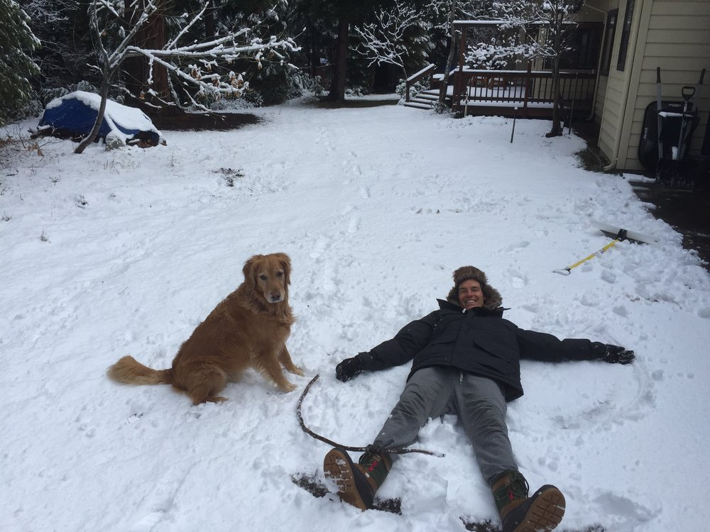 Casey and Zachy playing in the snow
