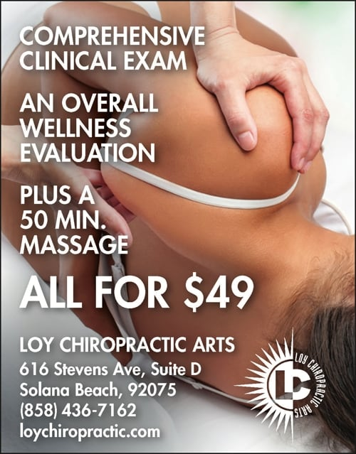 Limited Time Special $49 - Includes a Comprehensive Clinical Exam, Wellness Evaluation, and a 50-minute Massage. Call (858) 436-7162 Today