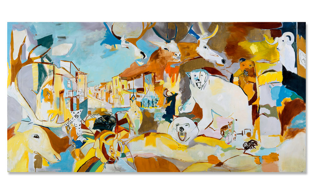 "The Trophy Room  Oil on canvas 48"" x 96"" x 1"" 2016"