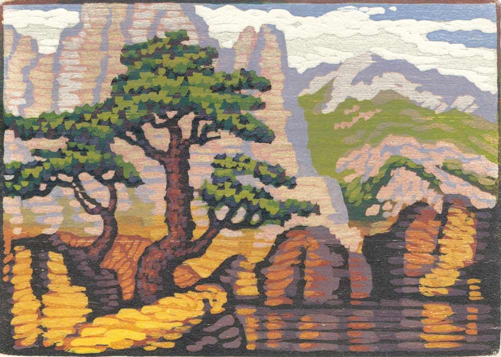 Woodblock Print - Rocks and Pines