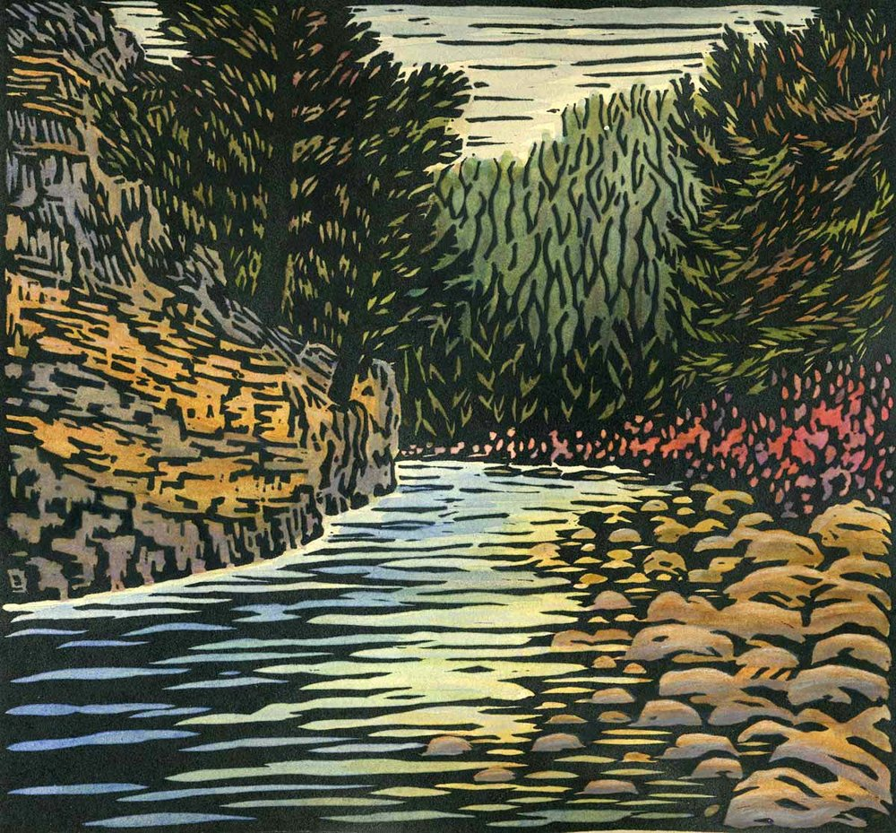 Woodblock print with watercolor