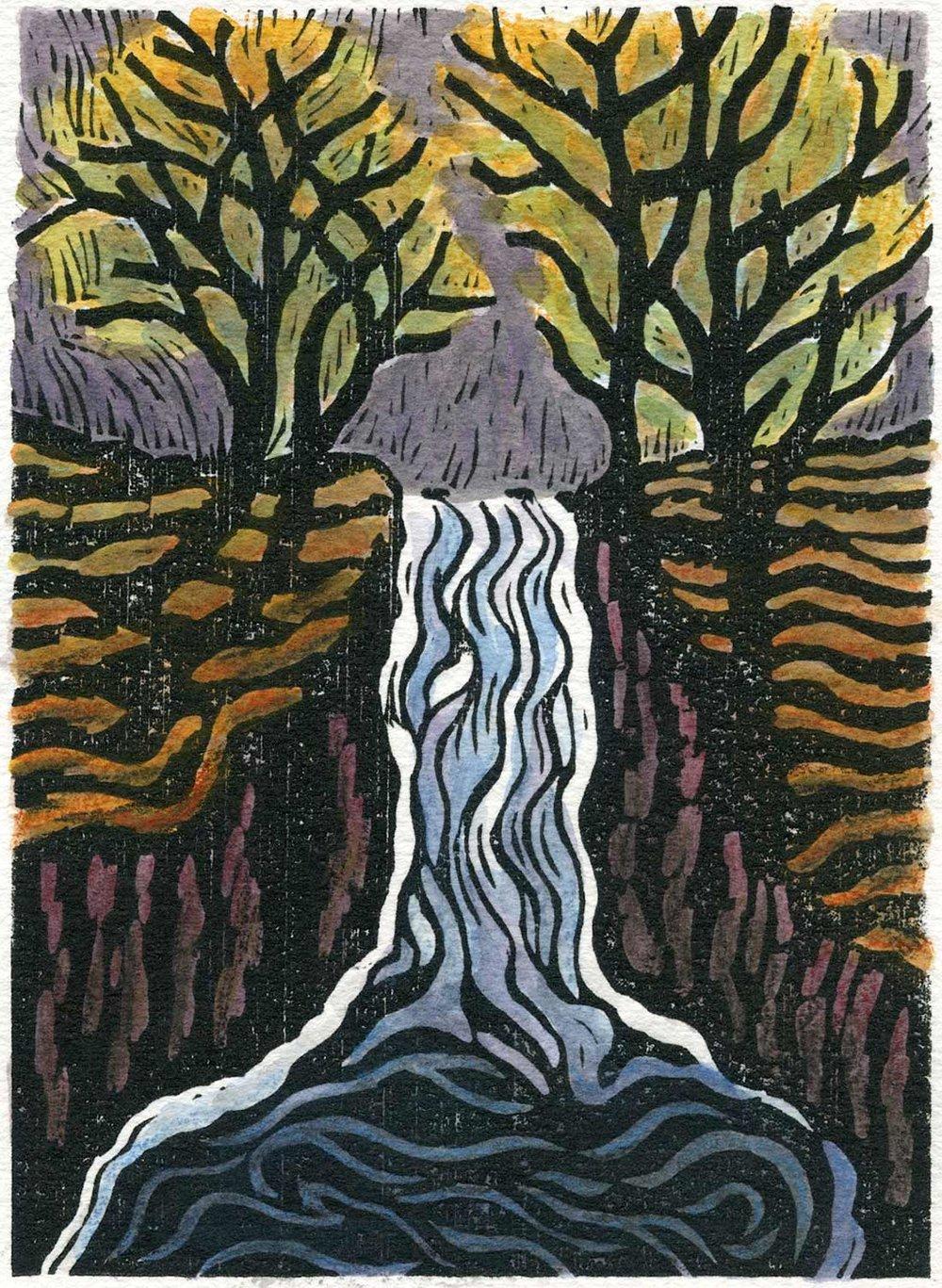 New woodblock print, Cascade Waterfall, Jim Meyer
