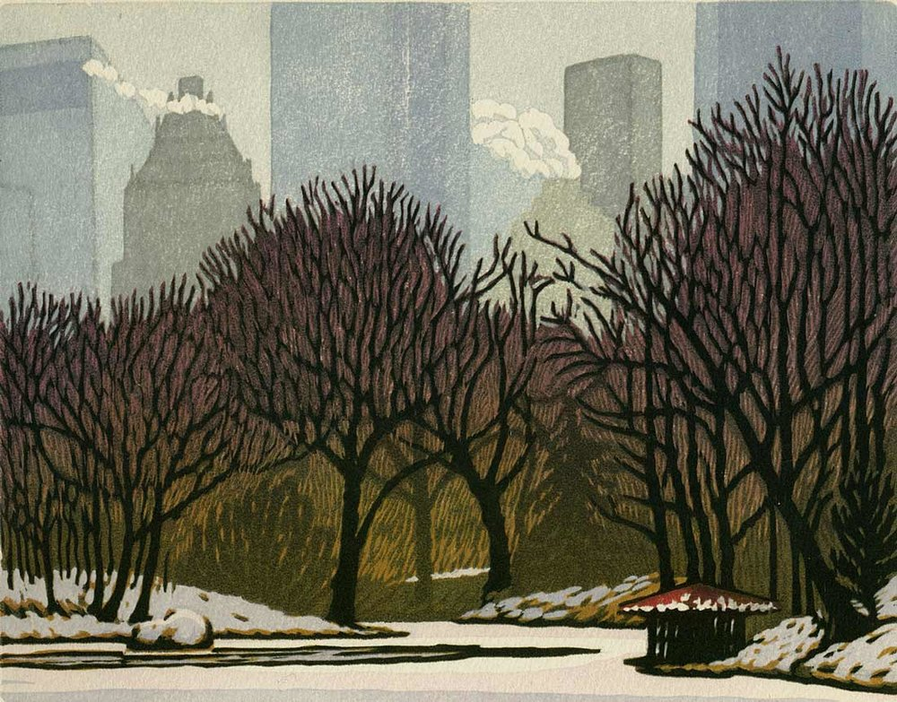 Woodblock print - Solemn Snow