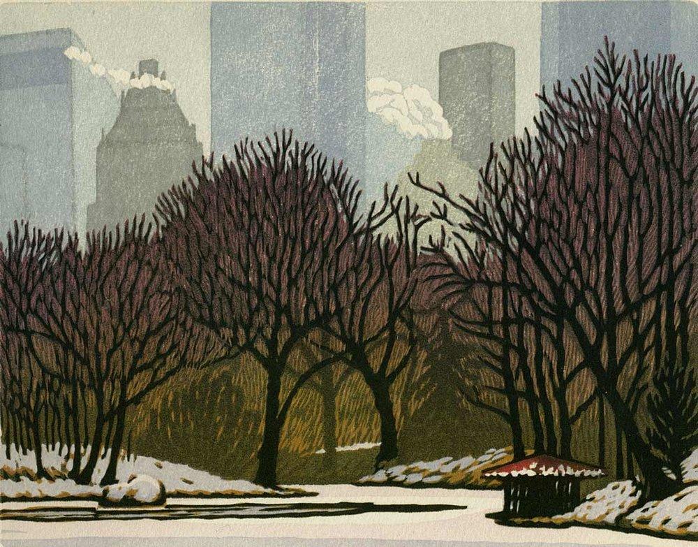 Woodblock print - Solemn Snow