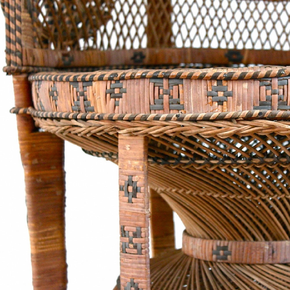 Large Emmanuelle Peacock Wicker Chair
