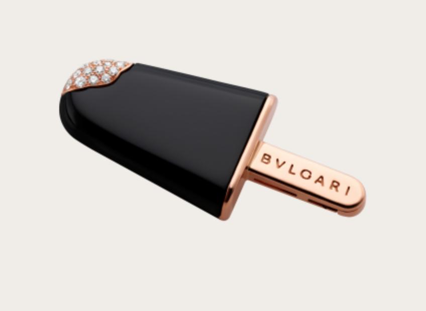 Bvlgari - Onyx and Diamond Ice Cream Brooch