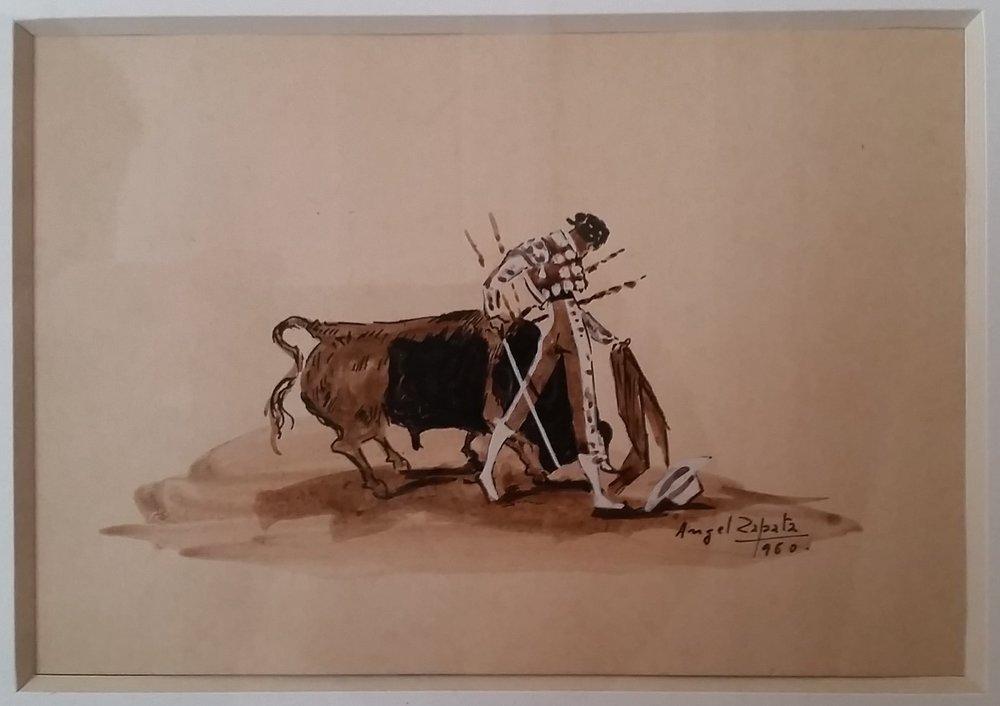 Zapata bull fighting watercolor 1960