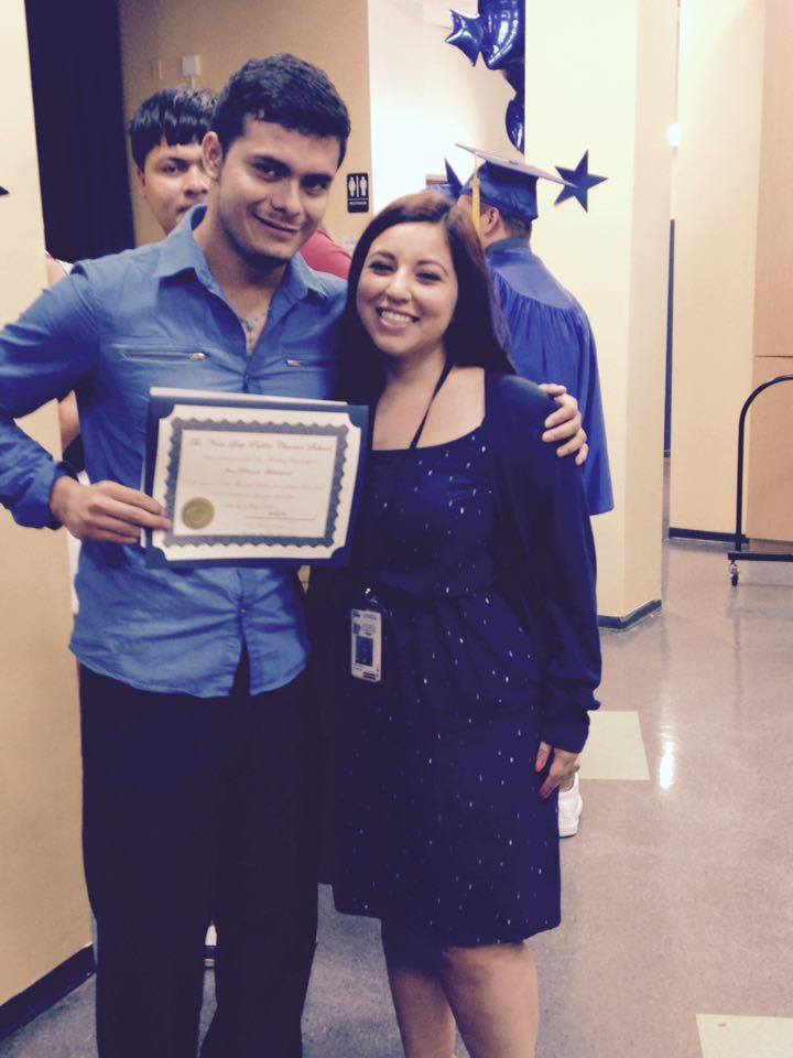 Jose at The Next Step Public Charter School's graduation on July 2015, after receiving The Ben Friedberg scholarship of $1,000.