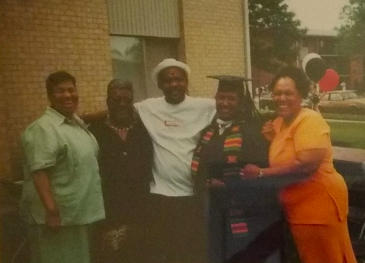Pictured here is Ms. Franklin's graduation picture  - Grandmother (Del) - Grandmother (Frankie) - Step-Father (Rick) - LaShaun Franklin - Mother (Joy)