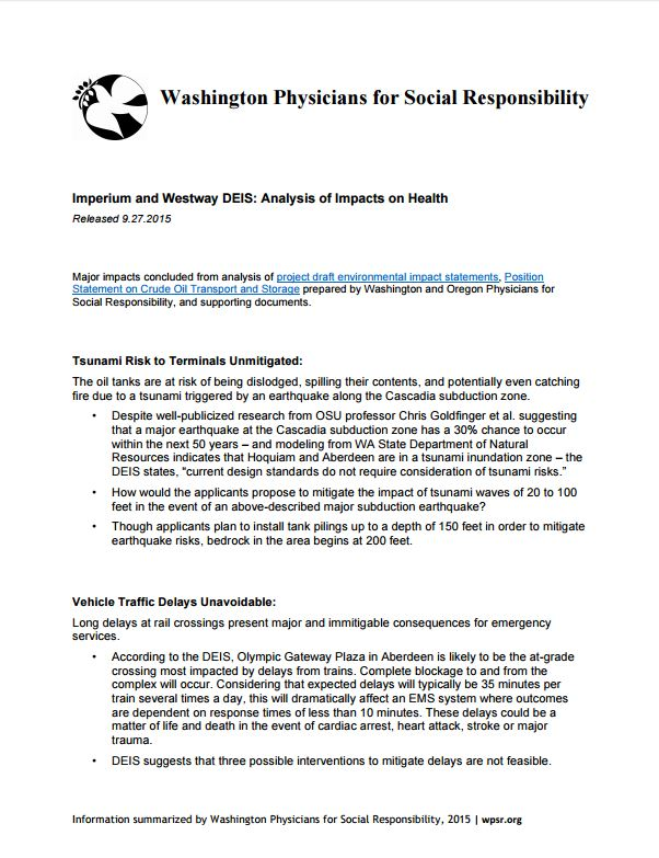 Imperium and Westway DEIS: Analysis of Impacts on Health - Major impacts concluded from analysis of DEISs, Position Statement on Crude Oil Transport, and supporting documents.