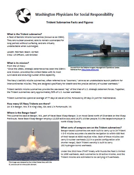 Trident Submarine Facts and Figures - An informational sheet on the US trident submarines.