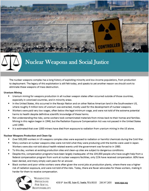 Nuclear Weapons and Social Justice - A fact sheet on the impacts of the nuclear weapons production system on our communities.