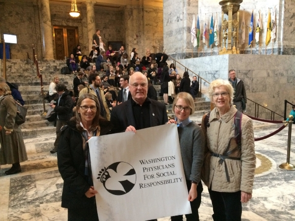 Members of the WPSR Climate & Health Task Force in Olympia in the third week of the 2018 legislative session.