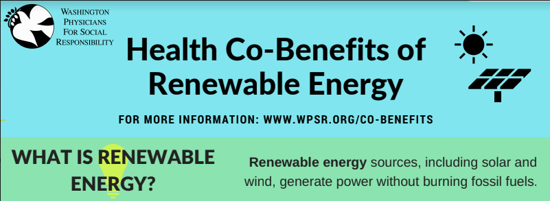 Health Co-Benefits Fact Sheets - Fact sheets on the health benefits of renewable energy, green transportation, lower-carbon food choices, and green space.