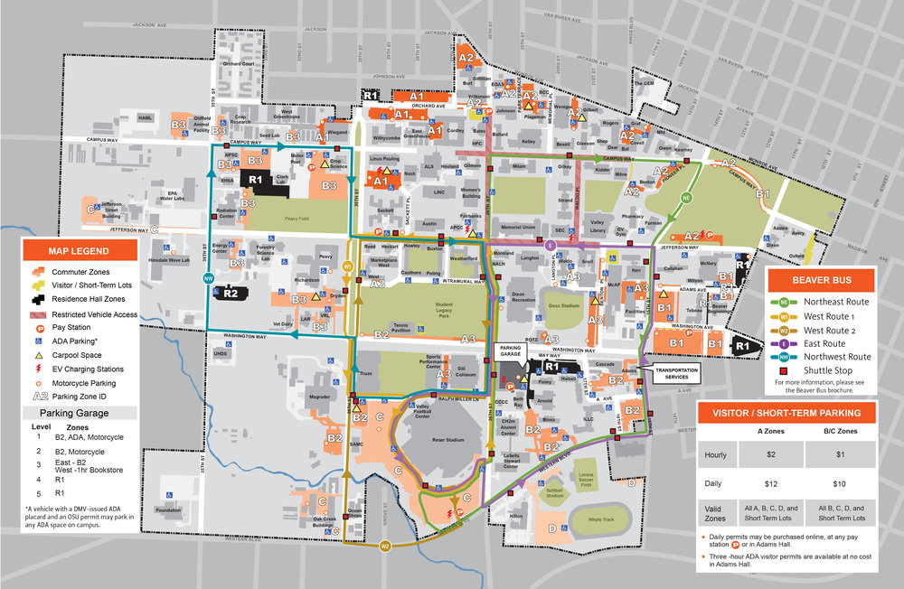 Oregon State Campus Map (Click on photo to enlarge)