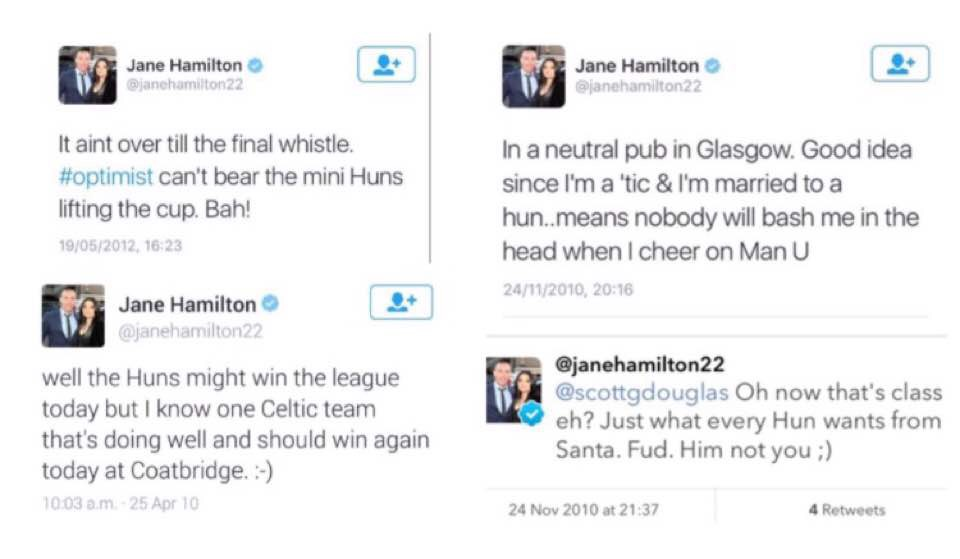 Jane Hamilton's sectarian posts