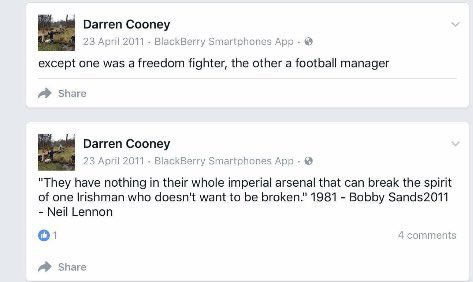 Darren Cooney showing his admiration for convicted IRA terrorist Bobby Sands