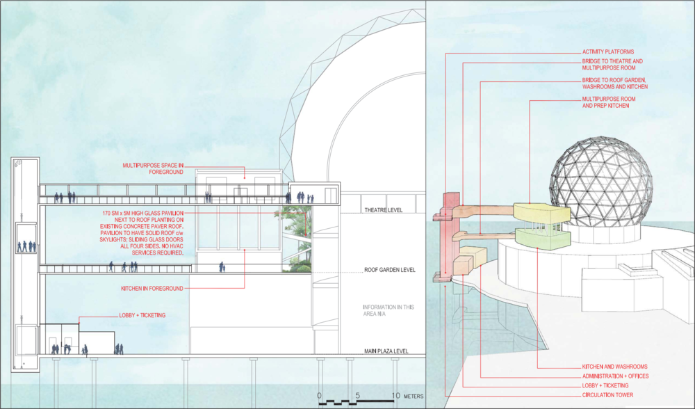 Rendered section + conceptual perspective