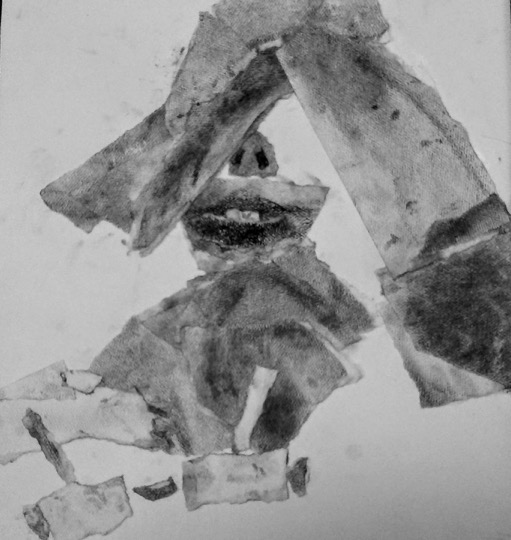"Fragment Study Torn Paper Exercise  20"" x 18"""