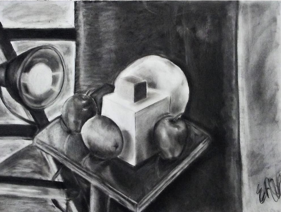 "Perspective Still Life    Charcoal and Eraser   18"" x 30"""