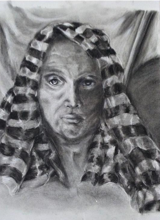 "Reductive Drawing   Charcoal, Eraser,         Conte Crayon  25"" x 18"""