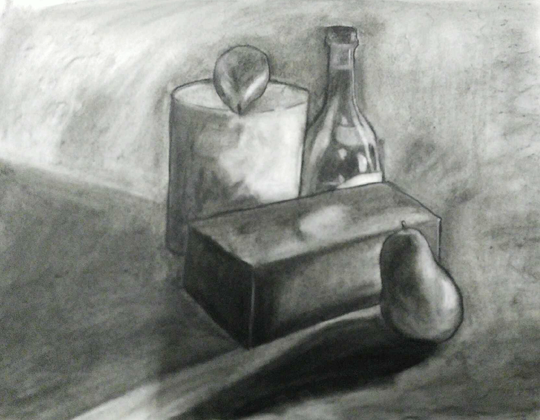 "Perspective Still Life Study   Charcoal   18"" x 24"""