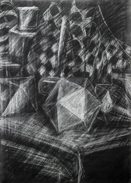 "Value Gesture Drawing    Compressed Charcoal   30"" x 22.75"""