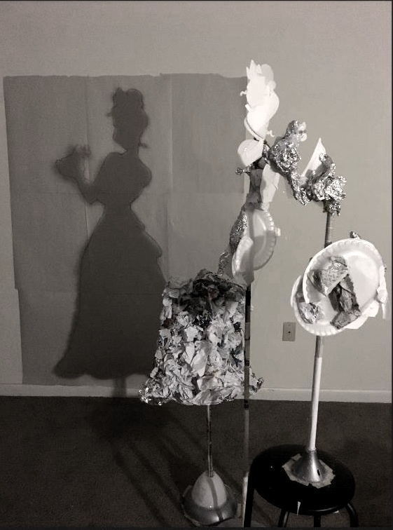 "Trash Shadow Sculpture   ""Tiana and Naveen""  5.5' H"